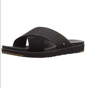 Ugg W Kari Glitter Flat Sandal black size 6.5